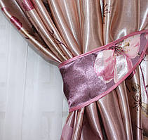 """Ткань атласный блэкаут с принтом цвет фиолетовый """"Фотошторы"""". Высота 2,7м. . 558ш"""