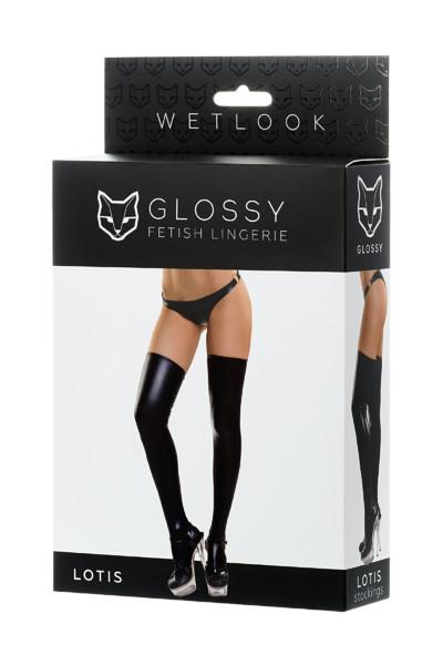 Панчохи Glossy з матеріалу Wetlook, чорний