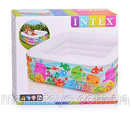 Детский надувной Бассейн 57471 Intex Аквариум Квадратный Размер 159*150 см.