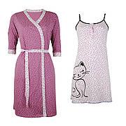 Комплект бавовняний двійка халат, нічна сорочка рожева Кішка в пологовий будинок