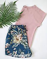Женская пижама для дома и сна с разноцветными шортами