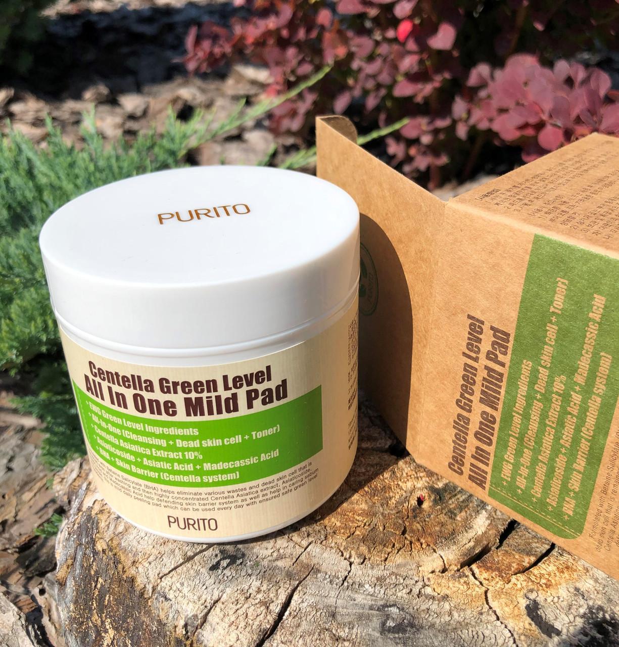 Зволожуючі педи з центеллой для очищення шкіри Purito Centella Green Level All In One Mild Pad