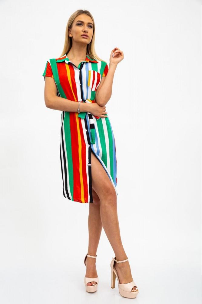 Платье-рубашка, полосатое зелено-оранжевое 115R3181-3
