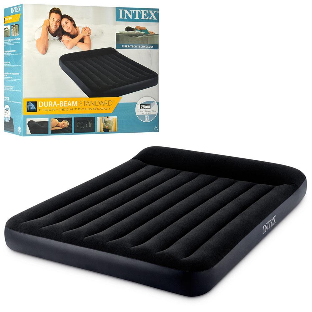 Матрас велюр надувной Intex 64150 (двухместный): 152*203*25 см, цвет -  черный, со встроенным электронасосом