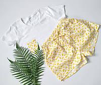 Женская пижама из трикотажной футболки и шортов с бананами