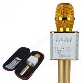 Микрофон DM Караоке Q9 Металлический корпус (Футляр) Золотой