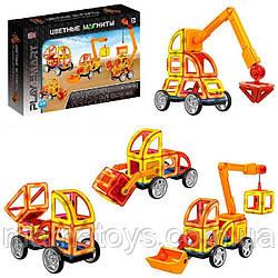 Конструктор магнитный 2428 Play Smart Цветные магниты Стройтехника45 деталей, 6 моделей, 3 D формат,