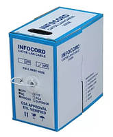Кабель КПВЭ  4х2х0,50 (FTP-cat.5E), Infocord( CCA), изоляция ПВХ,  экран, для внутр. работ, 305м. (10580)