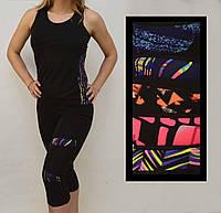 Костюм женский для фитнеса (Топ и капри женские с ярким принтом) S - XL Ласточка