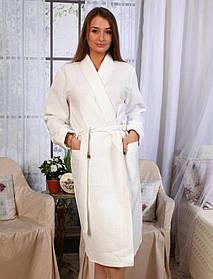 Вафельный халат Luxyart Кимоно М Белый  КОД: LS-0392