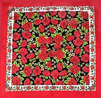 Хлопковая бандана Fashion Цветы 55*55 см красный