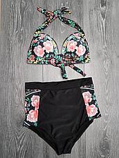 Чёрный купальник с розами высокие трусы яркий Купальник Пушап PushUp красивый 2020 - 130-35, фото 3