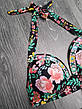 Чёрный купальник с розами высокие трусы яркий Купальник Пушап PushUp красивый 2020 - 130-35, фото 2