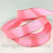 Лента с люрексом 7мм Розовый с золотым люрексом