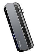 USB Хаб Baseus Transparent 5в1 Type-C Сірий (CAHUB-TD0G)