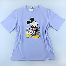 Женская фиолетовая футболка с рисунком, оверсайз