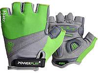 Велорукавички PowerPlay 5277 D Зелені S SKL24-144523