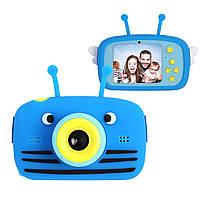 Цифровой детский фотоаппарат XOKO KVR-100 Bee Dual Lens Голубой+карта памяти на 32 Гб