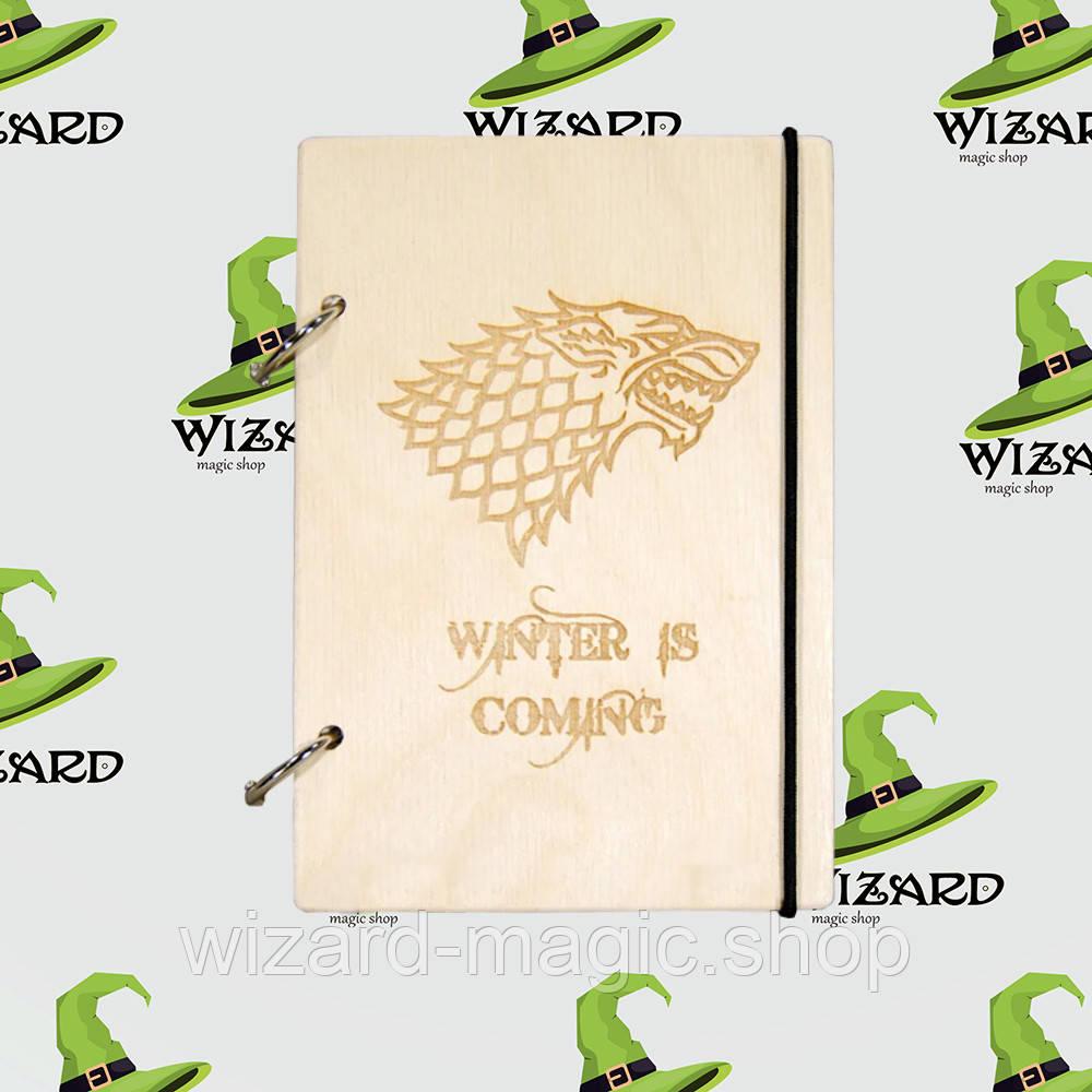 Деревянный блокнот А6 Game of Thrones Герб Старков (светлое дерево)