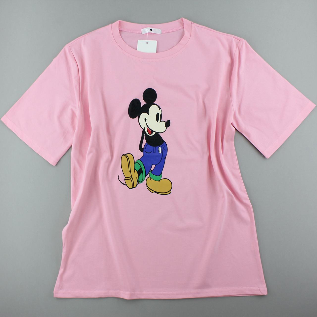 Футболка хлопок розовая женская, трикотажная оверсайз