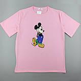Футболка хлопок розовая женская, трикотажная оверсайз, фото 3