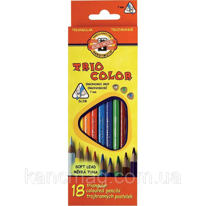 Карандаши цветные 18 штук Koh-i-noor Triocolor 3133