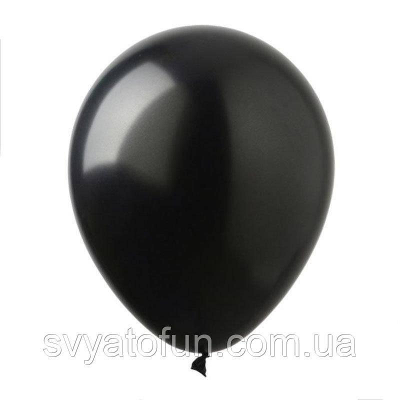 """Латексні кульки металік 12"""" чорний (100 шт/уп), SL12-043, ArtShow"""