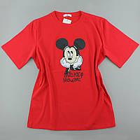 Красная яркая футболка с принтом для девочек, оверсайз