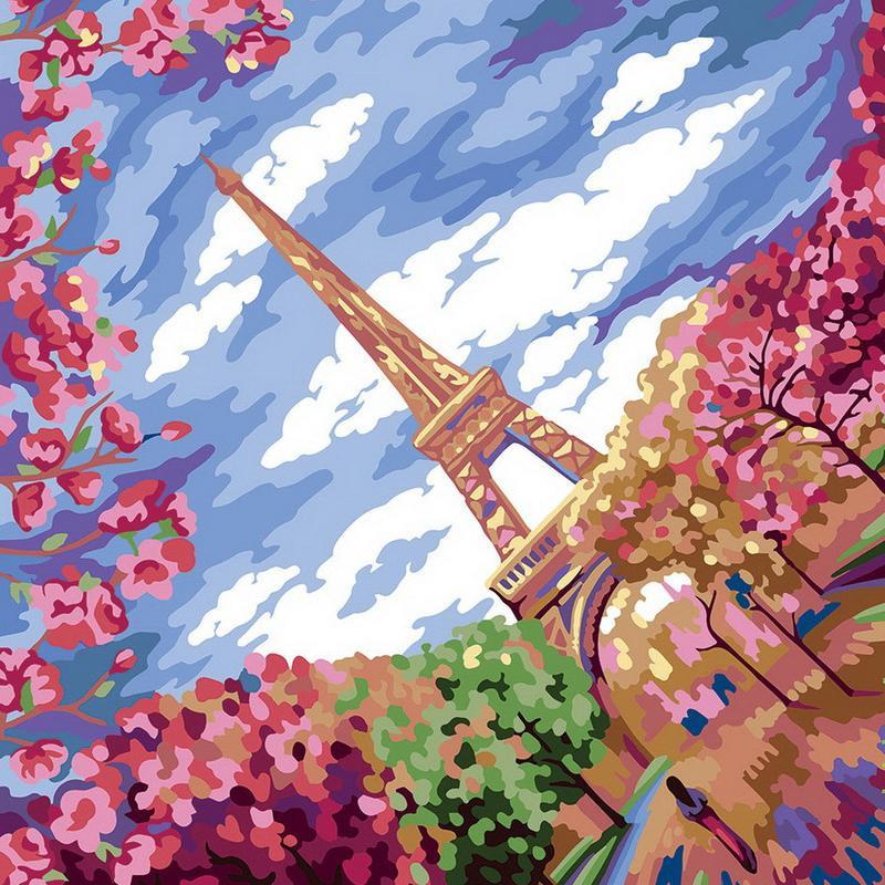 """Картина по номерам. """"Весна в Париже"""" 40*40см KpNe-02-02"""