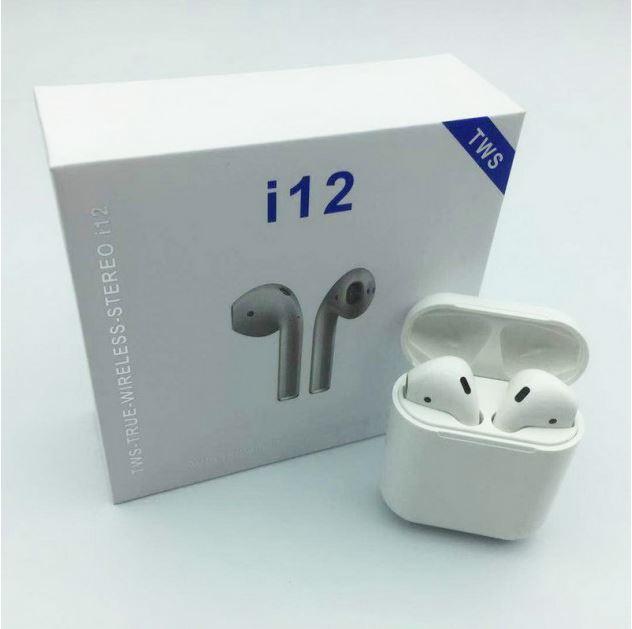 Сенсорні безпровідні навушники i12 білі