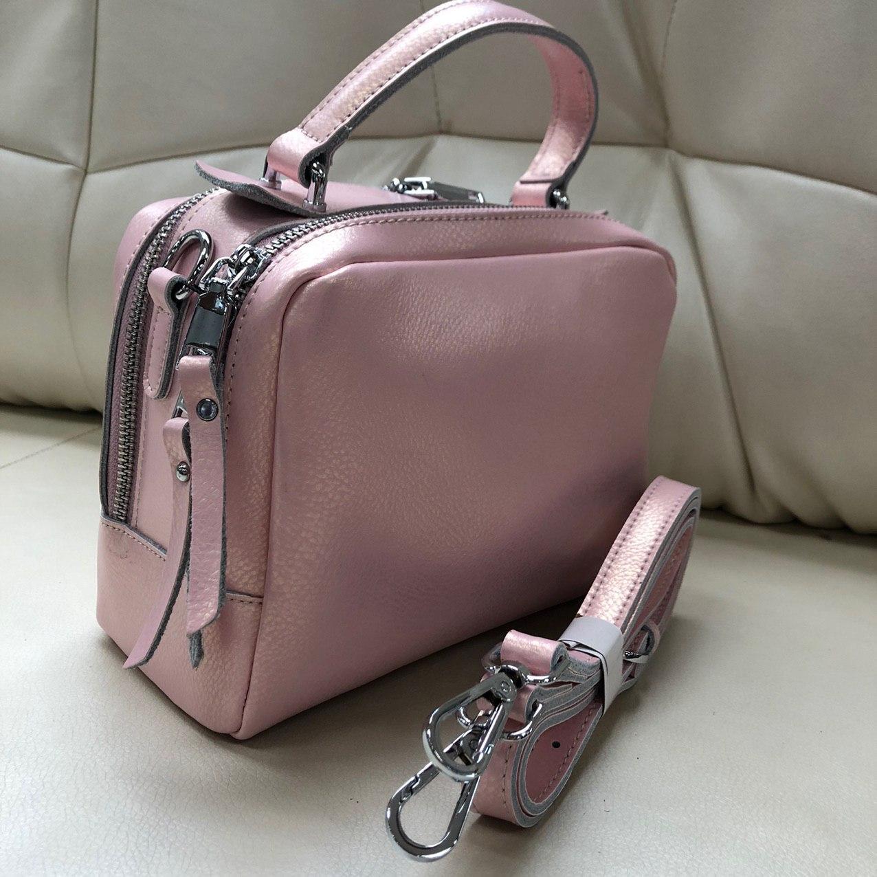 Сумка женская кожаная розовая