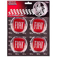"""Наклейки на колпаки, диам. 60 мм """"FIAT"""" красные (4 шт)"""