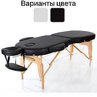 Масажний стіл дерев'яний 2-х сегментний RESTPRO VIP OVAL 2 кушетка масажна для масажу Чорний