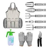 Набор садовый Lesko CG-2015 Grey из 9 предметов с сумкой и комплектом ручных инструментов