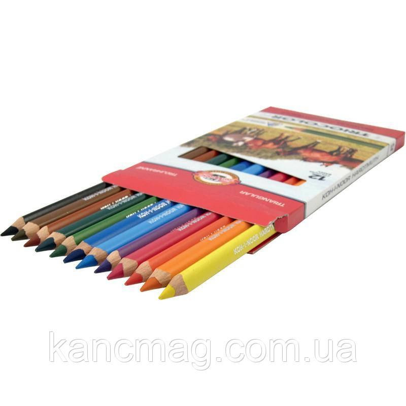Карандаши цветные 12 штук Koh-i-noor Triocolor Jumbo Horses 3142