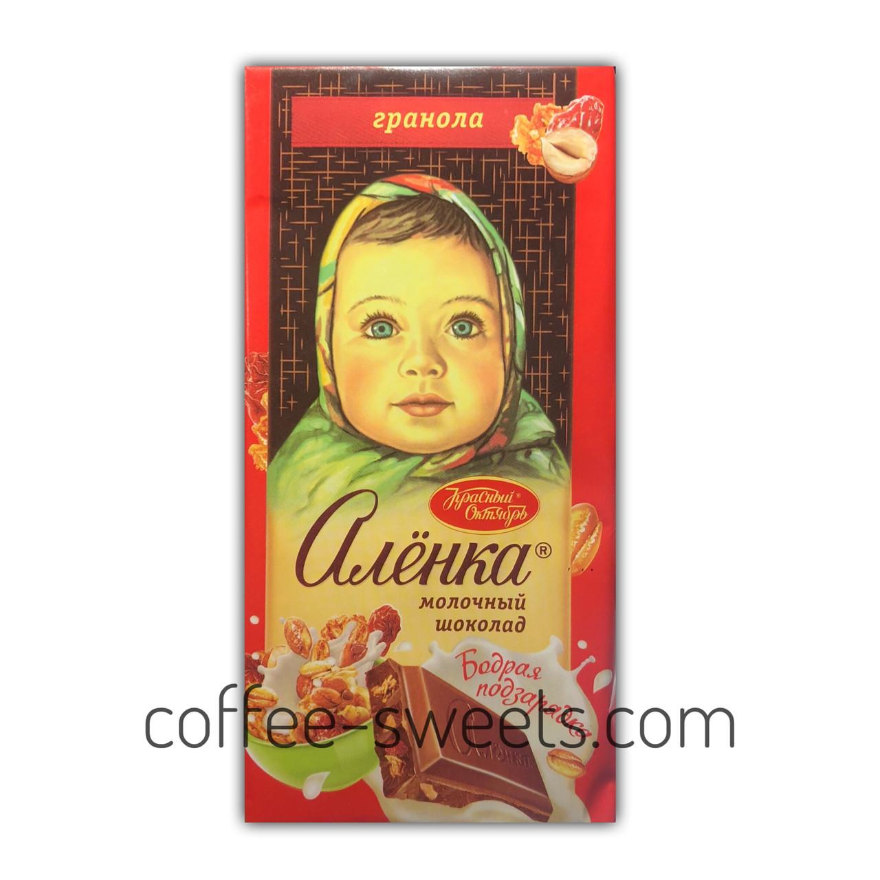 """Шоколад молочный """"Аленка"""" с гранолой 90 гр"""