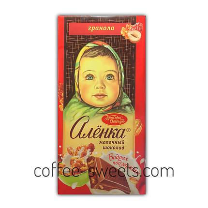 """Шоколад молочный """"Аленка"""" с гранолой 90 гр, фото 2"""