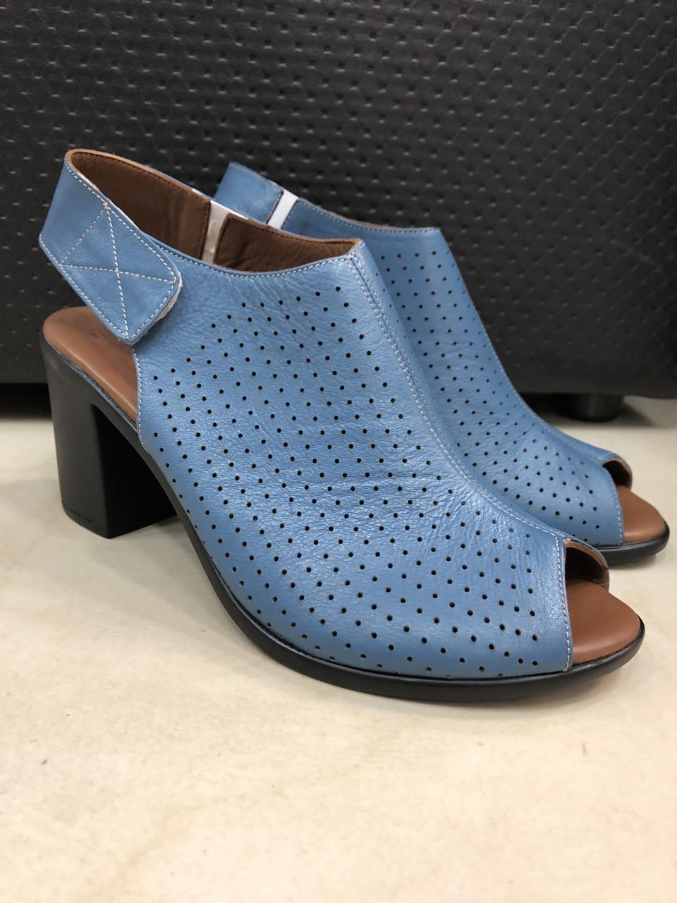 Босоножки сандалии женские кожаные синие BRENDA