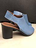 Босоножки сандалии женские кожаные синие BRENDA, фото 4