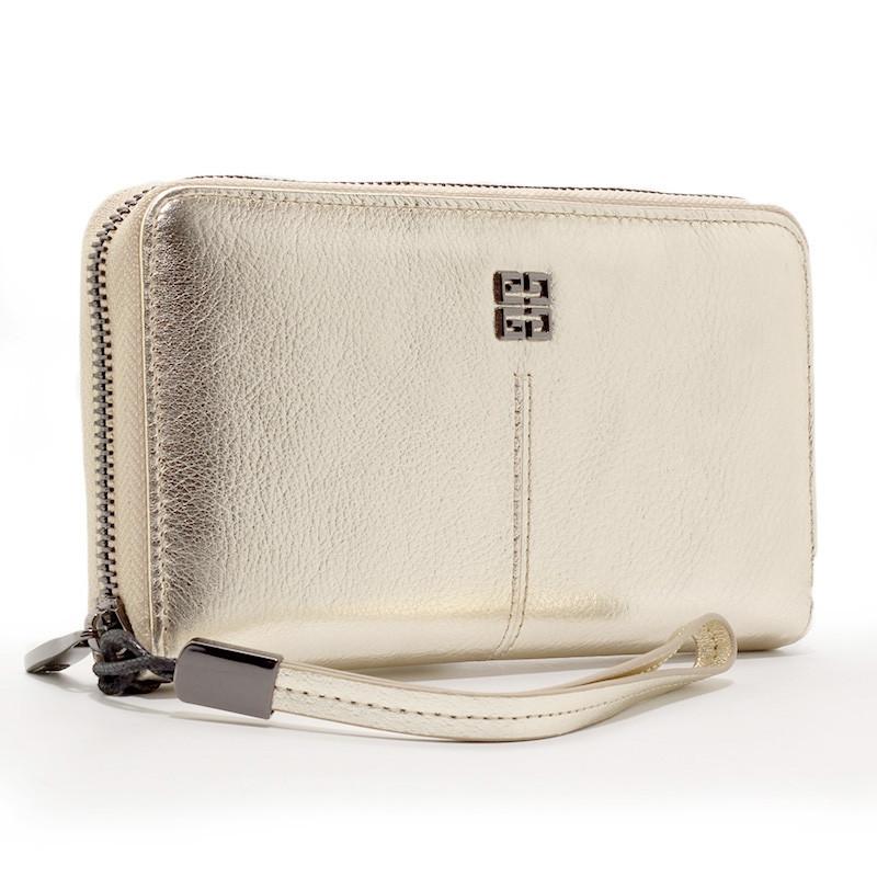 Шкіряний жіночий гаманець на блискавці золотистий Givenchy 6288