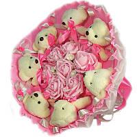 Букет из мягких игрушек Мишки белые 7 в розовом