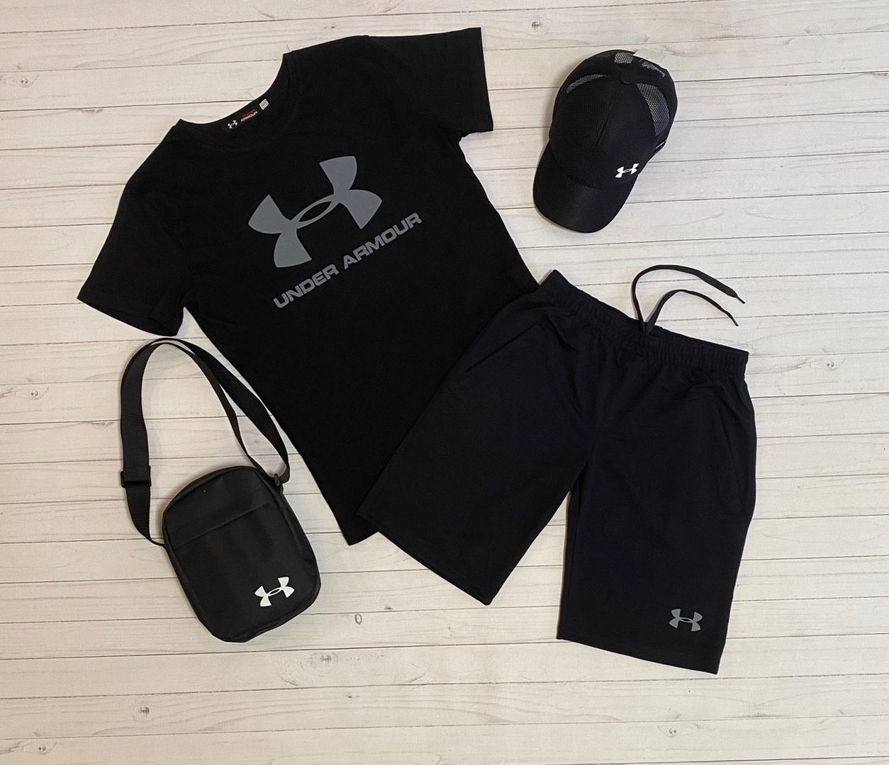 Мужской летний комплект андер, стильный молодежный   комплект футболка + шорты + Подарок Цвет: черный
