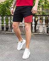 """Стильные мужские двухцветные хлопковые шорты """"Вольт"""" черные с красным - S, M"""