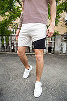 """Модні чоловічі літні шорти """"Вольт"""" бежеві з чорною вставкою - S, M, L, фото 1"""