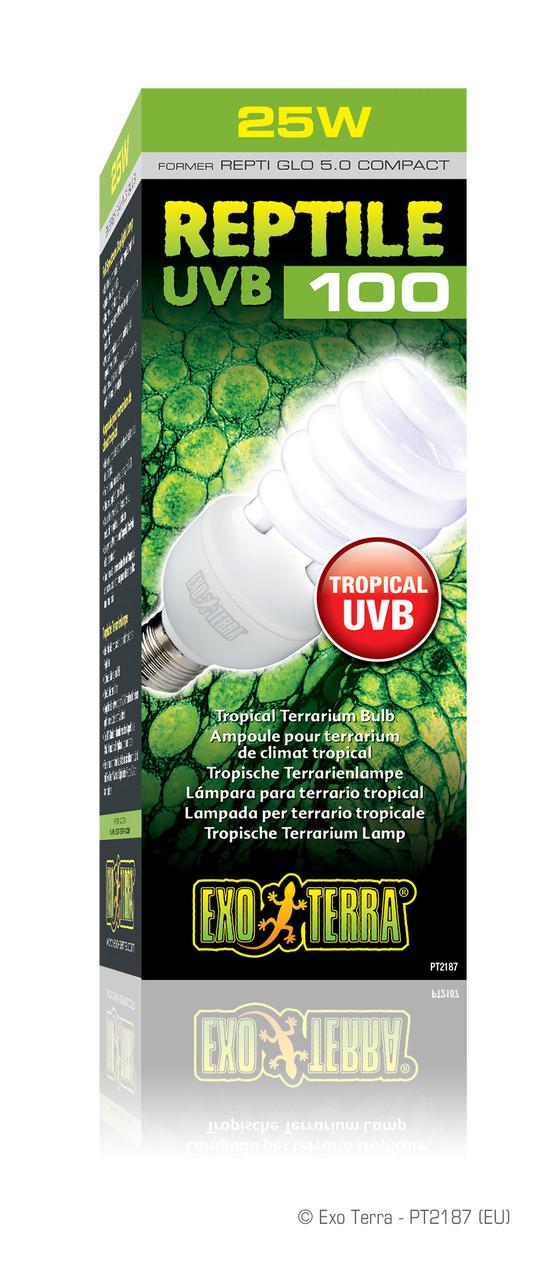 Лампа Exo Terra Reptile UVB 100 25 W Hagen для опромінення променями УФ-В спектра E27 компактна люмінесцентна