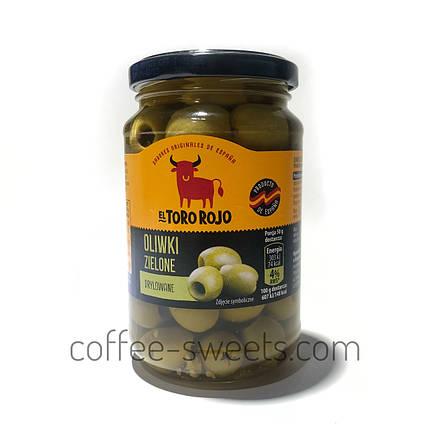 Оливки El Toro Rojo зеленые без косточки Oliwki Zielone Drylowane 340 г, фото 2