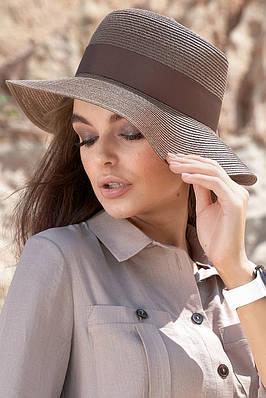 Шляпа летняя женская коричневая с лентой