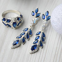 """Красивый женский набор украшений из серебра 925 пробы с синими фианитами """"Венеция"""""""