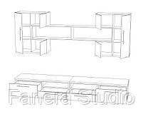 Комплект меблів у вітальню з ЛДСП, фото 4