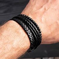 Браслет кожаный мужской mod.Rope чёрный, фото 1